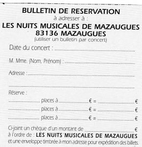 Bulletin de Réservation