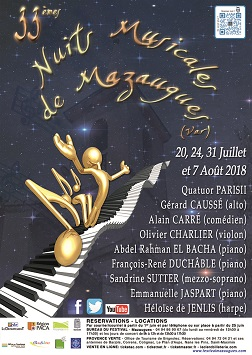 Affiche Nuits Musicales Mazaugues 2018